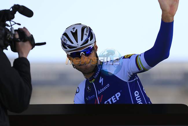 Riding his very last race 4 time winner Tom Booonen (BEL) Quick-Step Floors at sign on for the 115th edition of the Paris-Roubaix 2017 race running 257km Compiegne to Roubaix, France. 9th April 2017.<br /> Picture: Eoin Clarke   Cyclefile<br /> <br /> <br /> All photos usage must carry mandatory copyright credit (&copy; Cyclefile   Eoin Clarke)