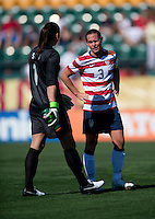Hope Solo, Christie Rampone.  The USWNT defeated Costa Rica, 8-0, during a friendly match at Sahlen's Stadium in Rochester, NY.