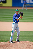 Hartford Yard Goats relief pitcher Will Lamb (33) gets ready to deliver a pitch during a game against the Erie SeaWolves on August 6, 2017 at UPMC Park in Erie, Pennsylvania.  Erie defeated Hartford 9-5.  (Mike Janes/Four Seam Images)