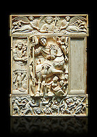 Medieval ivory relief panel from a diptych depicting a triumphant Byzantine Roman Emperor, probably Justinian. From Constantinople, 6th century. Inv. OA 9063, The Louvre Museum, Paris.