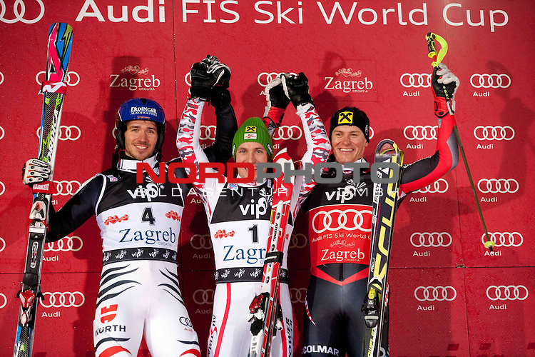05.01.2012, Crveni Spust, Sljeme, CRO, FIS Weltcup Ski Alpin, Zagreb, Herren Slalom Podium, im Bild Second placed NEUREUTHER Felix (GER), winner and &quot;Snow King 2012&quot; HIRSCHER Marcel (AUT) and third placed KOSTELIC Ivica (CRO) // on podium // during men Slalom race of FIS Ski Alpine World Cup at 'Crveni Spust' course in Sljeme, Zagreb, Croatia on 2012/01/05. Foto &copy; nph /    Vid Ponikvar<br /> <br /> ***** ATTENTION - OUT OF SLO ***** *** Local Caption ***