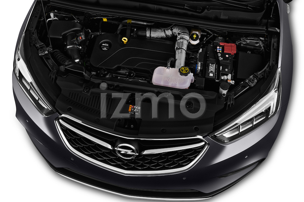 Car Stock 2017 Opel Mokka-X Innovation 5 Door SUV Engine  high angle detail view