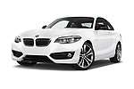 Stock pictures of low aggressive front three quarter view of a 2018 BMW 2 Series Sport 2 Door Coupe