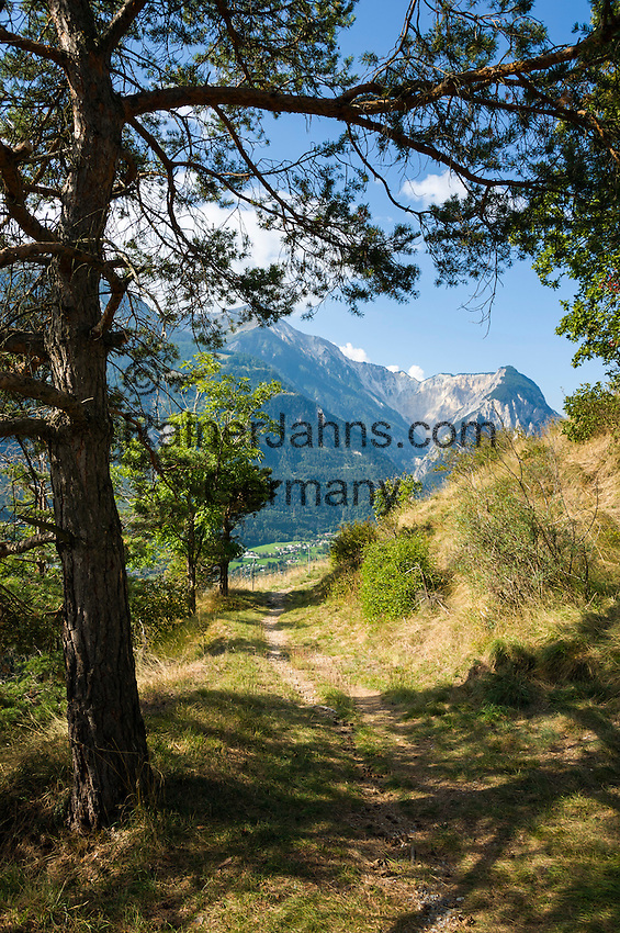 Switzerland, Canton Valais, near Bratsch: hiking trail on the northern slope of Rhône-Valley | Schweiz, Kanton Wallis, bei Bratsch: Wanderweg am Nordhang des Rhonetals