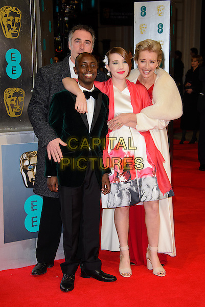 LONDON, ENGLAND - FEBRUARY 16: Greg Wise, Emma Thompson, Gaia Wise, Tindyebwa Agaba attends EE British Academy Film Awards in 2014  at the Royal Opera House on February 16, 2014 in London, England.<br /> CAP/CJ<br /> &copy;Chris Joseph/Capital Pictures