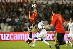04 June 2008: Daniel Guiza (ESP) (17) heads the ball in front of Maurice Edu (USA) (26). The Spain Men's National Team defeated the United States Men's National Team 1-0 at Estadio Municipal El Sardinero in Santander, Spain in an international friendly soccer match.
