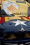 A Seat car decorated with Catalan slogans at a pro-Scottish independence gathering in George Square, Glasgow. The gathering brought together Yes Scotland supporters who favour Scotland leaving the union with the United Kingdom. On the 18th of September 2014, the people of Scotland voted in a referendum to decide whether the country's union with England should continue or Scotland should become an independent nation once again and leave the United Kingdom.