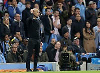Manchester City manager Josep Guardiola reacts after Raheem Sterling goal was disallowed following a VAR review<br /> <br /> Photographer Rich Linley/CameraSport<br /> <br /> UEFA Champions League - Quarter-finals 2nd Leg - Manchester City v Tottenham Hotspur - Wednesday April 17th 2019 - The Etihad - Manchester<br />  <br /> World Copyright © 2018 CameraSport. All rights reserved. 43 Linden Ave. Countesthorpe. Leicester. England. LE8 5PG - Tel: +44 (0) 116 277 4147 - admin@camerasport.com - www.camerasport.com
