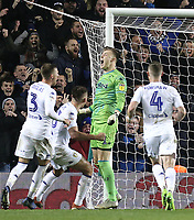 Leeds United's Bailey Peacock-Farrell roars in celebration after saving a late penalty effort by Reading's Marc McNulty<br /> <br /> Photographer Rich Linley/CameraSport<br /> <br /> The EFL Sky Bet Championship - Leeds United v Reading - Tuesday 27th November 2018 - Elland Road - Leeds<br /> <br /> World Copyright &copy; 2018 CameraSport. All rights reserved. 43 Linden Ave. Countesthorpe. Leicester. England. LE8 5PG - Tel: +44 (0) 116 277 4147 - admin@camerasport.com - www.camerasport.com