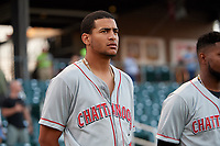 Chattanooga Lookouts Jose Siri (2) during the national anthem before a Southern League game against the Birmingham Barons on May 2, 2019 at Regions Field in Birmingham, Alabama.  Birmingham defeated Chattanooga 4-2.  (Mike Janes/Four Seam Images)