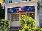 Sept. 12, 2012 - Hempstead, New York, U.S. - Hempstead Hall with Debate 2012 banner across entrance. Hofstra is hosting the 2nd Presidential Debate between Pres. Barack Obama and Mitt Romney, on October 16, 2012, in a Town Meeting format.
