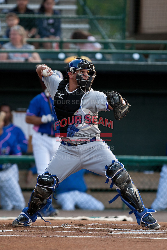 Catcher Sean Ochinko #14 of the Dunedin Blue Jays during the game against the Daytona Cubs at Jackie Robinson Ballpark on April 11, 2012 in Daytona Beach, Florida. (Scott Jontes / Four Seam Images)