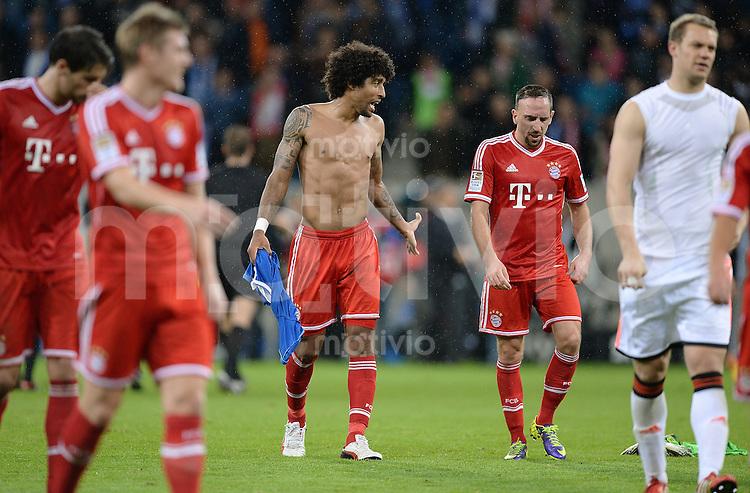 Fussball  1. Bundesliga  Saison 2013/2014   11. Spieltag  in Sinzheim TSG 1899 Hoffenheim - FC Bayern Muenchen    02.11.2013 Dante (li, FC Bayern Muenchen)  und Franck Ribery (FC Bayern Muenchen) nach den Spiel