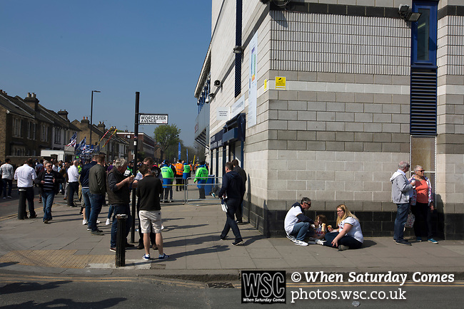 Tottenham Hotspur 4 Watford 0, 08/04/2017. White Hart Lane, Premier League. Supporters enjoying an impromptu picnic at the corner of the South and East Stands before Tottenham Hotspur took on Watford in an English Premier League match at White Hart Lane. Spurs were due to make an announcement in April 2016 regarding when they would move out of their historic home and relocate to Wembley as their new stadium was completed. Spurs won this match 4-0 watched by a crowd of 31,706, a reduced attendance figure due to the ongoing ground redevelopment. Photo by Colin McPherson.
