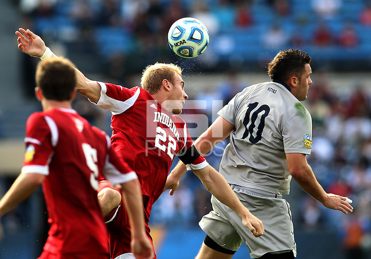 HOOVER, AL - DECEMBER 09, 2012: Caleb Konstanski (22) of Indiana University heads over Brandon Allen (10) of Georgetown University during the NCAA 2012 Men's College Cup championship, at Regions Park, in Hoover , AL, on Sunday, December 09, 2012.