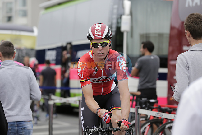 Marcel Sieberg (GER) Lotto-Soudal makes his way to sign on before the start of Stage 3 of the 2016 Tour de France, running 223.5km from Granville to Angers, France . 4th July 2016.<br /> Picture: Eoin Clarke | Newsfile<br /> <br /> <br /> All photos usage must carry mandatory copyright credit (&copy; Newsfile | Eoin Clarke)