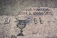 Italy: Ostia--Mosaic, Tavern floor: Dicit Fortunatus: Vinum Cratera Quod Sitis. Bibe, or Fortunatus says: Drink your filll of the crater wine. Fortunatus may be proverbial or the saloon keeper. Photo '83.