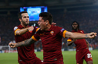 Calcio, Champions League, Gruppo E: Roma vs CSKA Mosca. Roma, stadio Olimpico, 17 settembre 2014.<br /> Roma forward Juan Iturbe, of Argentina, center, celebrates with teammates after scoring during the Group E Champions League football match between AS Roma and CSKA Moskva at Rome's Olympic stadium, 17 September 2014.<br /> UPDATE IMAGES PRESS/Riccardo De Luca