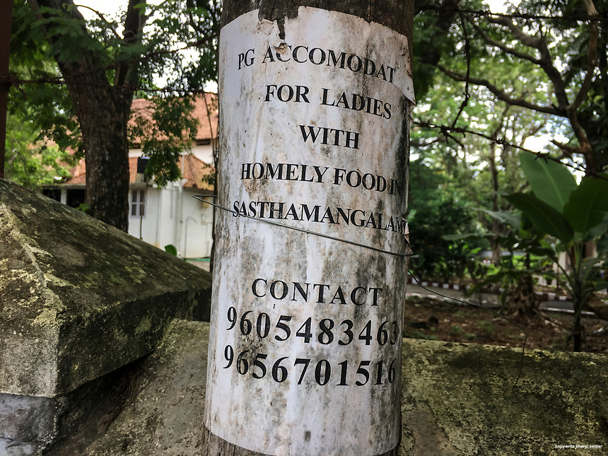 A sign offering lodging to women on a telephone pole in Thiruvananthapuram, India,  June 8, 2017 (Cellphone Photo by Cheryl Senter)