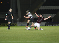 John McGinn evades the tackle from Dylan McGowan in the St Mirren v Heart of Midlothian Clydesdale Bank Scottish Premier League U20 match played at St Mirren Park, Paisley on 6.11.12.