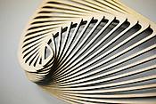 Mark Plaga's laser cut creation, Half An Angel's Wing, at the Durham TechShop.