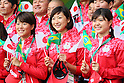 (L-R) Sachi Mochida, Rikako Ikee, Suzuka Hasegawa (JPN), <br /> AUGUST 2, 2016 : <br /> Welcome Ceremony for the Japanese delegation <br /> during the Rio 2016 Olympic Games <br /> at Athlete's Village, in Rio de Janeiro, Brazil. <br /> (Photo by Yohei Osada/AFLO SPORT)
