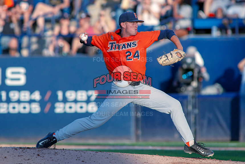 Cal State Fullerton Titans Tanner Bibee (24) delivers a pitch to the plate against the University of Washington Huskies at Goodwin Field on June 10, 2018 in Fullerton, California. The Huskies defeated the Titans 6-5. (Donn Parris/Four Seam Images)