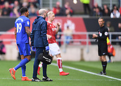 4th November 2017, Ashton Gate, Bristol, England; EFL Championship football, Bristol City versus Cardiff City; Nathaniel Mendez-Laing of Cardiff City leaves the field injured