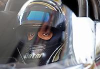Jun. 16, 2012; Bristol, TN, USA: NHRA top fuel dragster driver Khalid Albalooshi during qualifying for the Thunder Valley Nationals at Bristol Dragway. Mandatory Credit: Mark J. Rebilas-