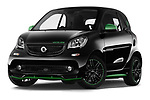Stock pictures of low aggressive front three quarter view of a 2018 Smart fortwo Greenflash 3 Door Hatchback