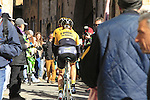 Team lotto NL-Jumbo riders make their way to sign on before the start of the 2015 Strade Bianche Eroica Pro cycle race 200km over the white gravel roads from San Gimignano to Siena, Tuscany, Italy. 7th March 2015<br /> Photo: Eoin Clarke www.newsfile.ie