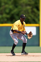 Pittsburgh Pirates Francisco Mepris (51) takes ground balls on a side field during an Instructional League Intrasquad Black & Gold game on September 28, 2016 at Pirate City in Bradenton, Florida.  (Mike Janes/Four Seam Images)