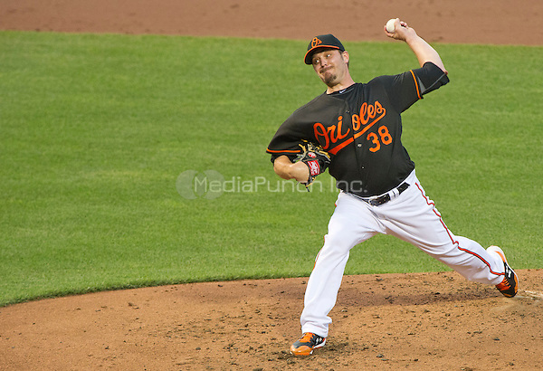 Baltimore Orioles starting pitcher Wade Miley (38) works in the second inning against the Houston Astros at Oriole Park at Camden Yards in Baltimore, MD on Friday, August 19, 2016.  The Astros won the game 15 - 8.<br /> Credit: Ron Sachs / CNP/MediaPunch ***FOR EDITORIAL USE ONLY***