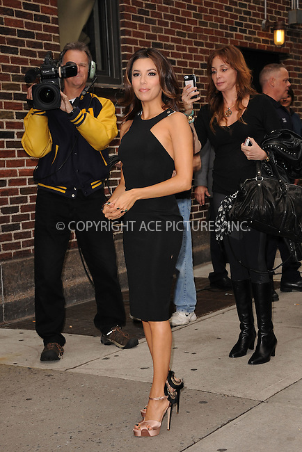 WWW.ACEPIXS.COM . . . . . .May 9, 2012...New York City....Eva Jacqueline Longoria tapes an appearance on the Late Show with David Letterman on May 9, 2012  in New York City ....Please byline: KRISTIN CALLAHAN - ACEPIXS.COM.. . . . . . ..Ace Pictures, Inc: ..tel: (212) 243 8787 or (646) 769 0430..e-mail: info@acepixs.com..web: http://www.acepixs.com .