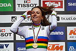 Annemiek van Vleuten (NED) wins the Elite Women Individual Time Trial of the 2018 UCI Road World Championships running 27.8km from Wattens to Innsbruck, Innsbruck-Tirol, Austria 2018. 25th September 2018.<br /> Picture: Innsbruck-Tirol 2018/BettiniPhoto | Cyclefile<br /> <br /> <br /> All photos usage must carry mandatory copyright credit (&copy; Cyclefile | Innsbruck-Tirol 2018/BettiniPhoto)