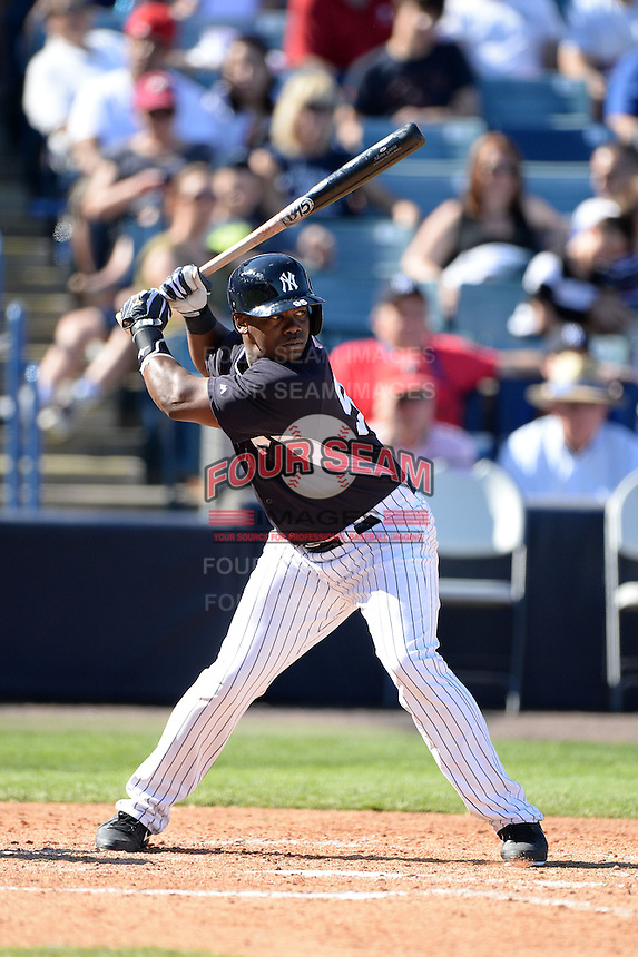 Third baseman Adonis Garcia (95) of the New York Yankees during a spring training game against the Philadelphia Phillies on March 1, 2014 at Steinbrenner Field in Tampa, Florida.  New York defeated Philadelphia 4-0.  (Mike Janes/Four Seam Images)