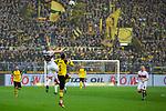 09.03.2019, Signal Iduna Park, Dortmund, GER, 1.FBL, Borussia Dortmund vs VfB Stuttgart, DFL REGULATIONS PROHIBIT ANY USE OF PHOTOGRAPHS AS IMAGE SEQUENCES AND/OR QUASI-VIDEO<br /> <br /> im Bild   picture shows:<br /> Kopfballduell zwischen Andreas Beck (VfB Stuttgart #32) und Achraf Hakimi (Borussia Dortmund #5), <br /> <br /> Foto &copy; nordphoto / Rauch