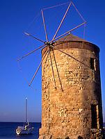 Greece. Dodecanese Islands. Rhodes..Windmill in Mandraki Harbor.