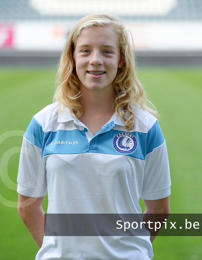 20150821 - GENT, BELGIUM: Gent's Elena Dhont pictured during a press conference about the start of the new Super League season of the women's team KAA Gent Ladies , Friday 21 August 2015 , in Gent. PHOTO DAVID CATRY