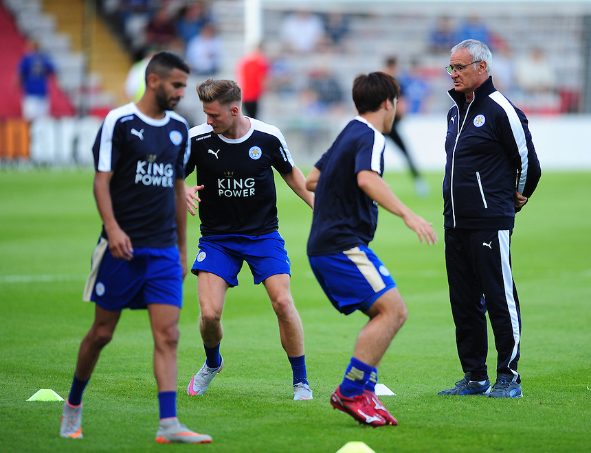 Leicester City Manager Claudio Ranieri, right, casts an eye over his team's pre-match warm-up<br /> <br /> Photographer Chris Vaughan/CameraSport<br /> <br /> Football - Football Friendly - Lincoln City v Leicester City - Tuesday 21st July 2015 - Sincil Bank - Lincoln<br /> <br /> &copy; CameraSport - 43 Linden Ave. Countesthorpe. Leicester. England. LE8 5PG - Tel: +44 (0) 116 277 4147 - admin@camerasport.com - www.camerasport.com
