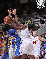 STANFORD, CA - January 20, 2011: Nnemkadi Ogwumike blocks a shot during Stanford's 64-38 victory over UCLA at Stanford, California on January 20, 2011.