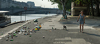 Quay St Bernard and Quai de la Tournelle in Paris the morning after the Fête de la Musique 21st June 2017.