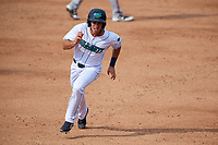 Lynchburg Hillcats center fielder Jodd Carter (7) runs the bases during the first game of a doubleheader against the Potomac Nationals on June 9, 2018 at Calvin Falwell Field in Lynchburg, Virginia.  Lynchburg defeated Potomac 5-3.  (Mike Janes/Four Seam Images)
