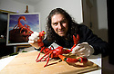 Experimental Food Society event in Brick Lane London.25.9.10.Weird and wacky food art..Phil Baker made a scorpion out of red hot chilli peppers..Picture by Gavin Rodgers/ Pixel 07917221968