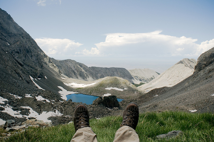 25 July 2008-- Colorado Trip Backpack Lake Como. Resting over Crater Lake on the Lake Como trail to the Blanca Group of Colorado Fourteeners.  PHOTO/Daniel Johnson (copyright Daniel Johnson)