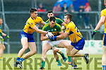 Jack Barry Kerry in action against Jamie Malone and Ciaran Russell Clare in the Munster Senior Football Championship Semi Final in Ennis on Sunday.