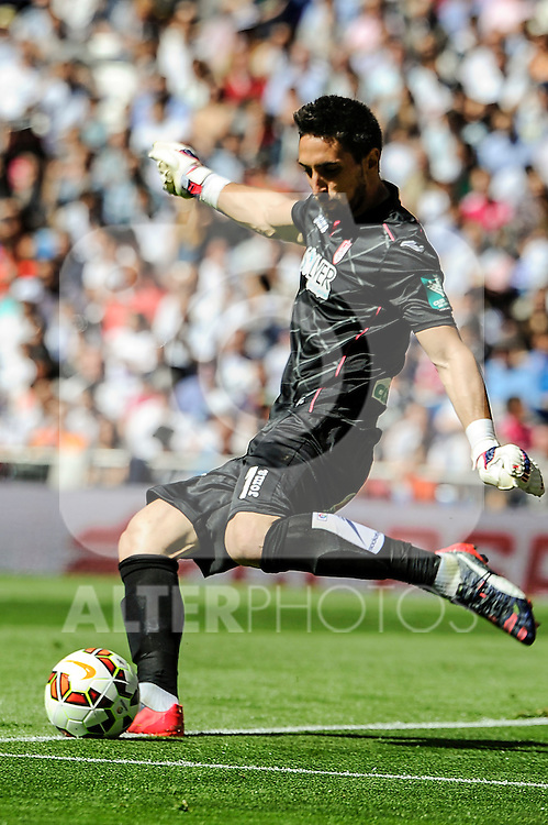 Granada´s goalkeeper Oier Olazabal during 2014-15 La Liga match between Real Madrid and Granada at Santiago Bernabeu stadium in Madrid, Spain. April 05, 2015. (ALTERPHOTOS/Luis Fernandez)