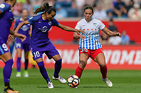 Bridgeview, IL - Saturday July 22, 2017: Marta Vieira Da Silva, Lauren Kaskie during a regular season National Women's Soccer League (NWSL) match between the Chicago Red Stars and the Orlando Pride at Toyota Park. The Red Stars won 2-1.