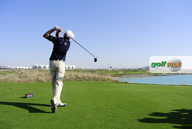 Peter Lawrie (IRL) teeing off on the 8th tee during the Emirates Airlines Invitational Pro-Am 2012  hosted by Abdullah Al Naboodah at Yas Links Golf Course, United Arab Emirates, 30th January 2012 (Photo Eoin Clarke/www.golffile.ie)