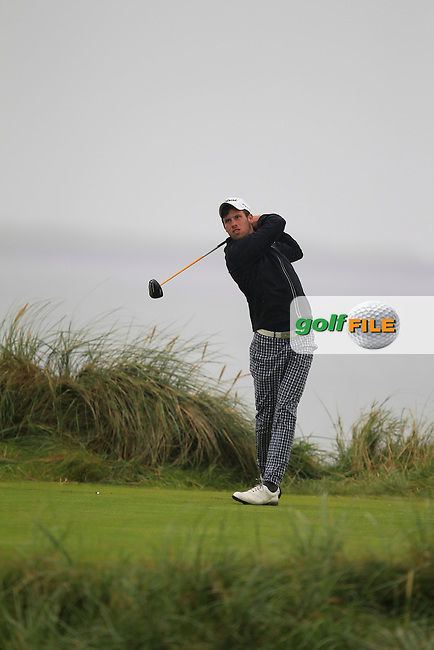 Alex Gleeson (Castle) on the 4th tee during the South of Ireland Amateur Open Championship Semi-Finals at Lahinch Golf Club  31th July 2013 <br /> Picture:  Thos Caffrey / www.golffile.ie